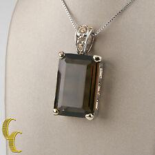 "Women's MX Sterling Silver Brown Quartz/Glass Pendant With 30"" inch Box Chain"