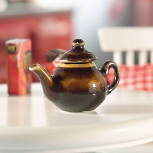 1:12 Scale Brown Ceramic Teapot Tumdee Dolls House Miniature Accessory Br21
