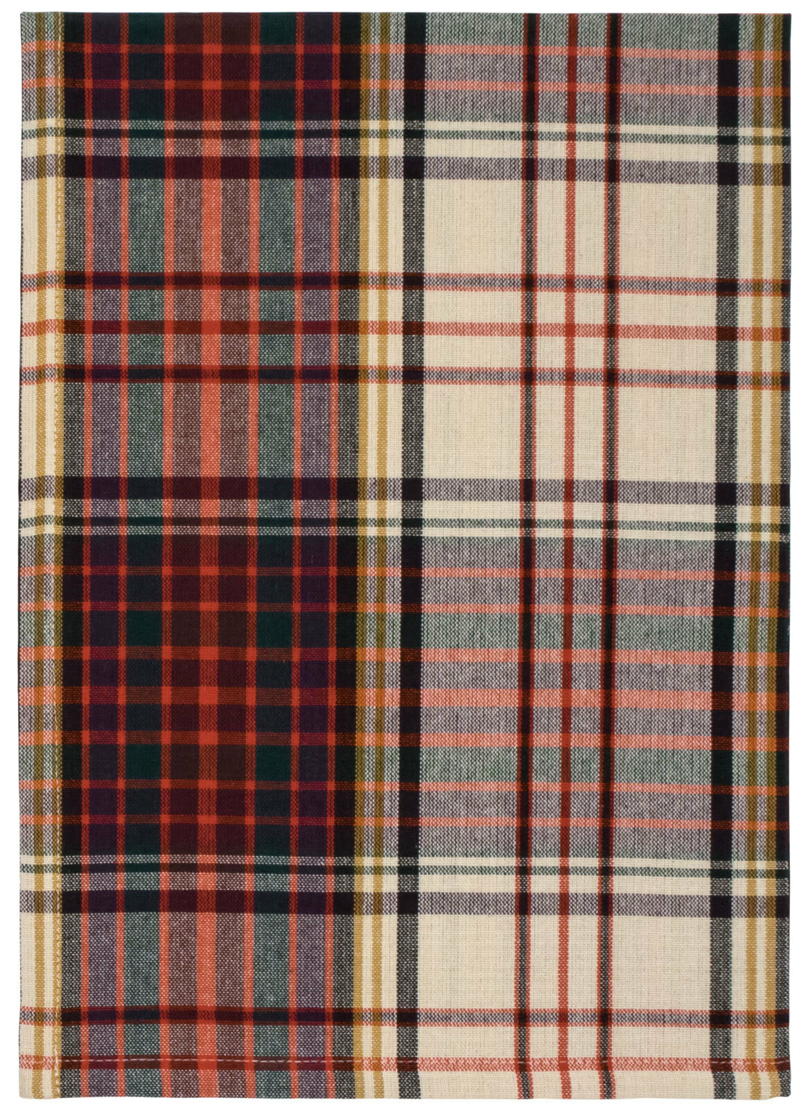100% Cotton Beige rot & Grün Plaid 20 x28  Dish Towel, Set of 6 - Snowschuhe