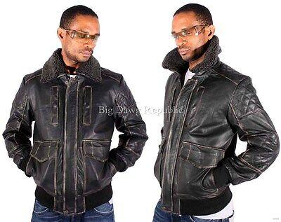 Aviatrix Mens Boys Jackson Vintage Biker Pilot Black Heavy Flying Leather Jacket
