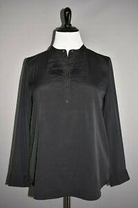 BANANA-REPUBLIC-68-Black-Pleat-Front-Tux-Shirt-Sheer-Sleeves-Back-XL