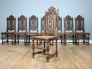Set-of-Eight-19th-Century-French-Hand-Carved-Dining-Chairs