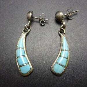 Vintage Sterling Silver /& Turquoise Pierced Earrings