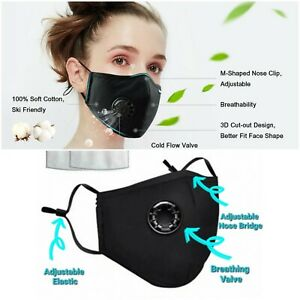 Washable reusable face mask with breathing valve and free 2 filter inserts