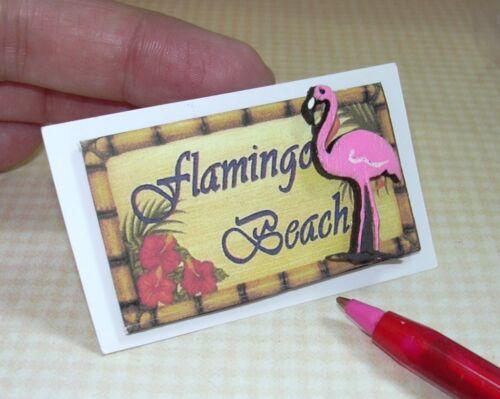 "DOLLHOUSE 1:12 #1 Miniature 3-D Beach Picture Sign /""Flamingo Beach/"""