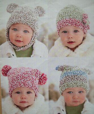 Vintage Knitting Pattern ~ Baby Hat /& Mittens ~ Pompoms