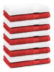 Betz 10 Toallas de cara 30x30cm PREMIUM 100% algodón de colores rojo y blanco