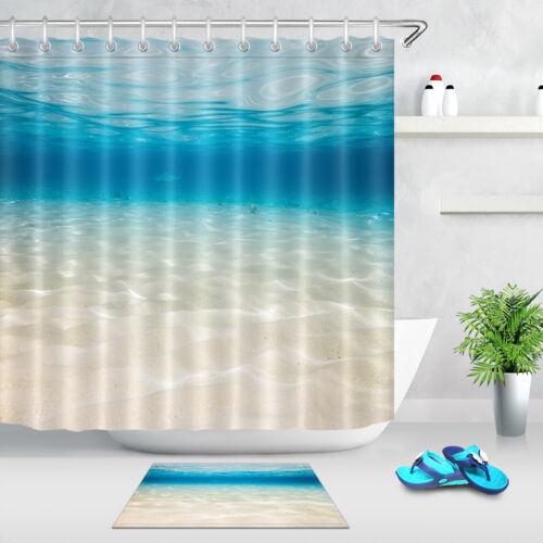 Underwater Sandy Sea Bottom Lagoon Shower Curtain Liner Waterproof Fabric Hooks