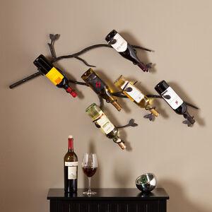 Wall Mount Wine Rack 6 Bottle Display Unique Metal Wall Art Decor