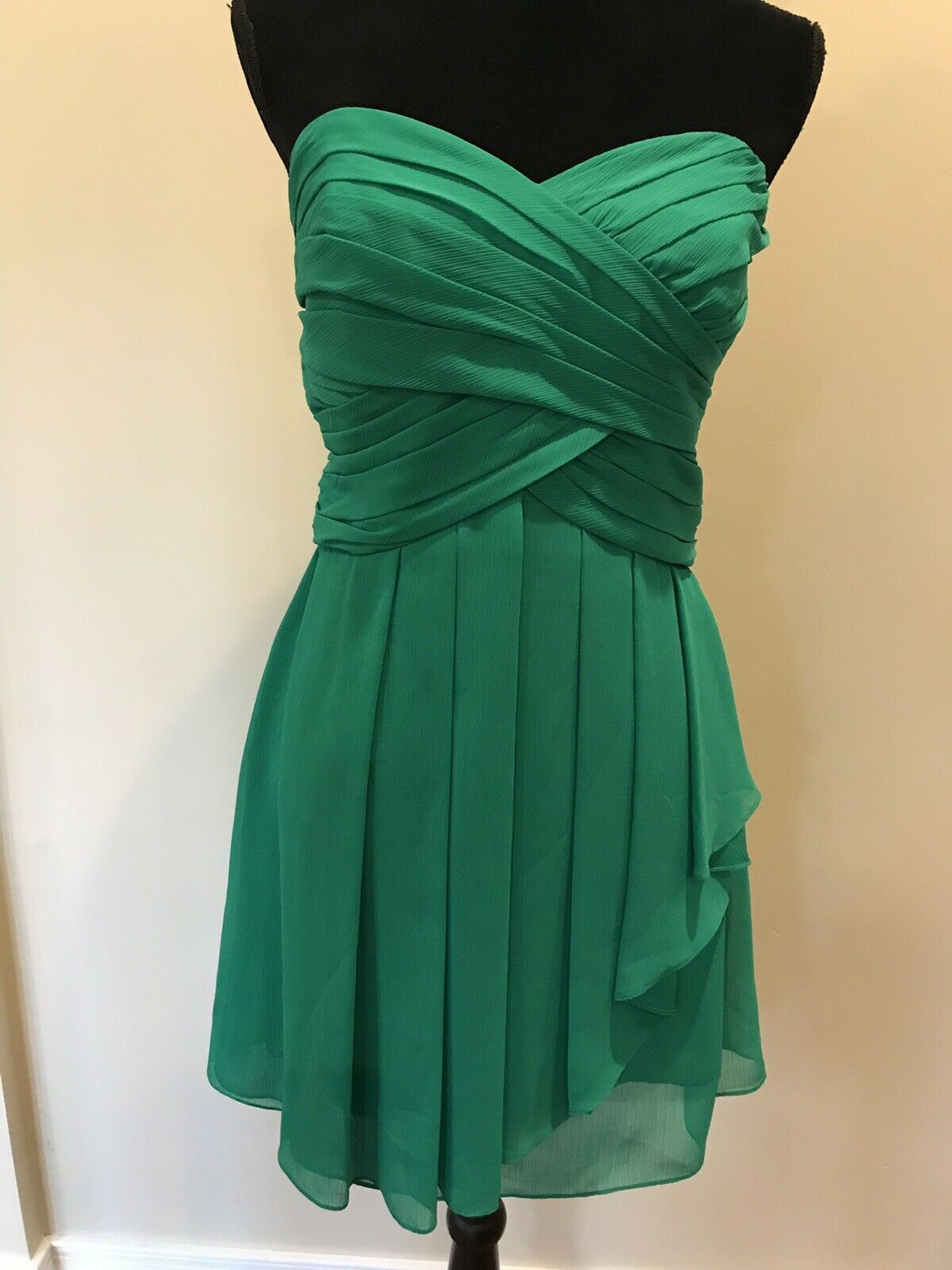 David's Bridal Green Strapless Dress Style F14847 Size 12 Kelly Green Bridesmaid