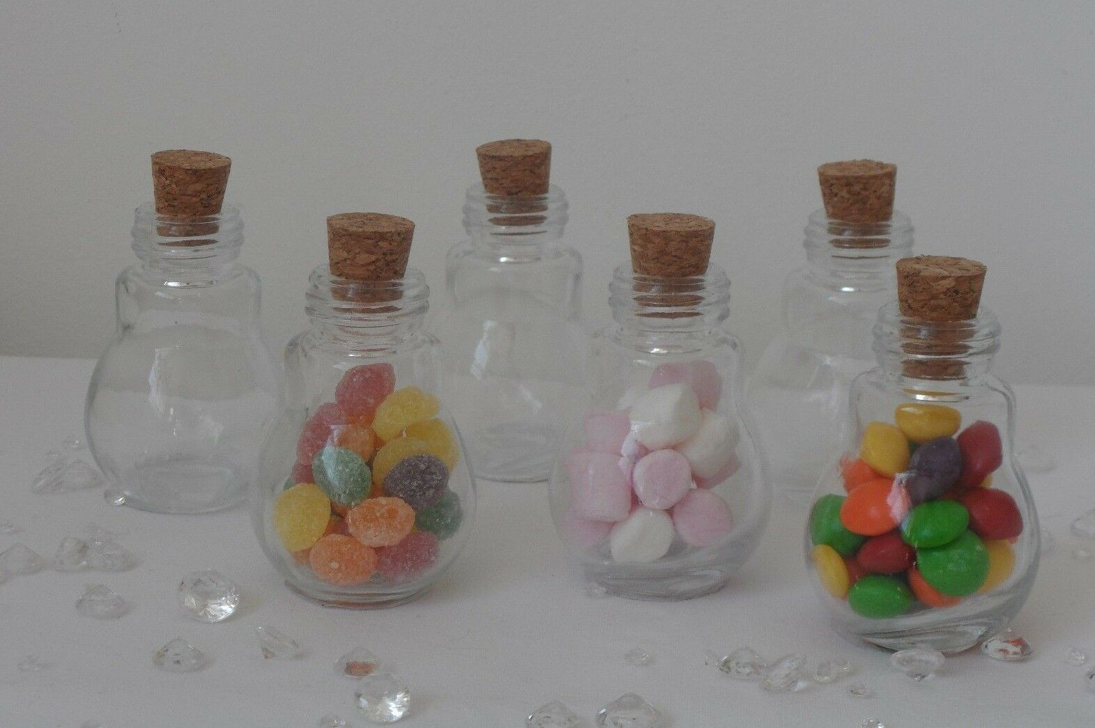 Small Light Bulb Glass Cork Lid Bottles Jars Party Sweets Wedding Table Favours