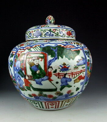 Chinese Antique Five Colored Porcelain Lidded Pot With Ancient Literati Deco And To Have A Long Life.