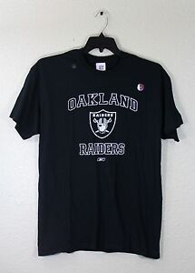 Oakland-Raiders-Black-T-Shirt-Reebok-Logo-Team-Logo-M-L-XL-100-Cotton