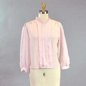 e4850d17bd1 Vtg 1980 s Women s Pink Blouse Sheer Chiffon Lace Collar Long Bishop ...