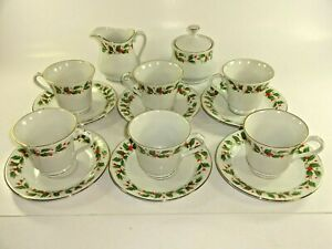 China-Pearl-Noel-Pattern-Coffee-Tea-Service-6-Cups-w-Saucers-Sugar-amp-Creamer