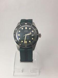 oris sixty five 65 dive watch green on nato strap ebay