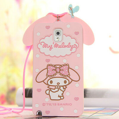 Cute Pink Melody Rabbit Silicone Case Cover for iPhone 6 Plus 5S Samsung Note3 4