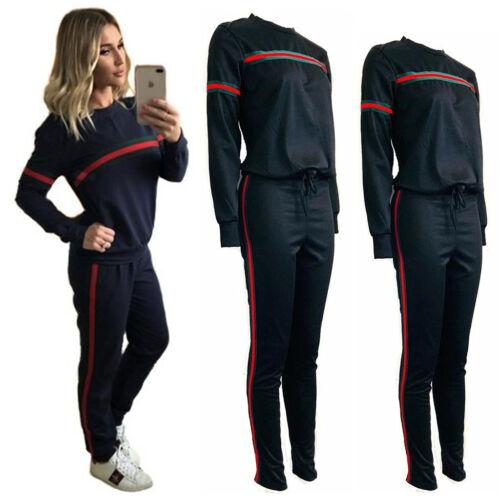 Women 2Pcs Co-Ord 3 Stripes Long Sleeves Top Trouser Set Loungewear GG Tracksuit