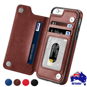 Leather-Card-Case-Flip-cover-For-iPhone-6S-7-8-XR-XS-Max-Samsung-S7-S8-S9-Note-9