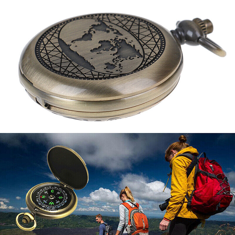 Pocket Retro Compass Vintage Outdoor Hiking Camping Survival Tools with Keychain