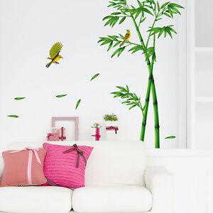 Bambus vogel pflanzen wandtattoo wandaufkleber wandsticker wohnzimmer home deko ebay - Wandsticker bambus ...