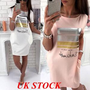 UK-Women-Shirt-Short-Sleeve-Casual-Mini-Dress-Ladies-Summer-Loose-Tops-Blouse