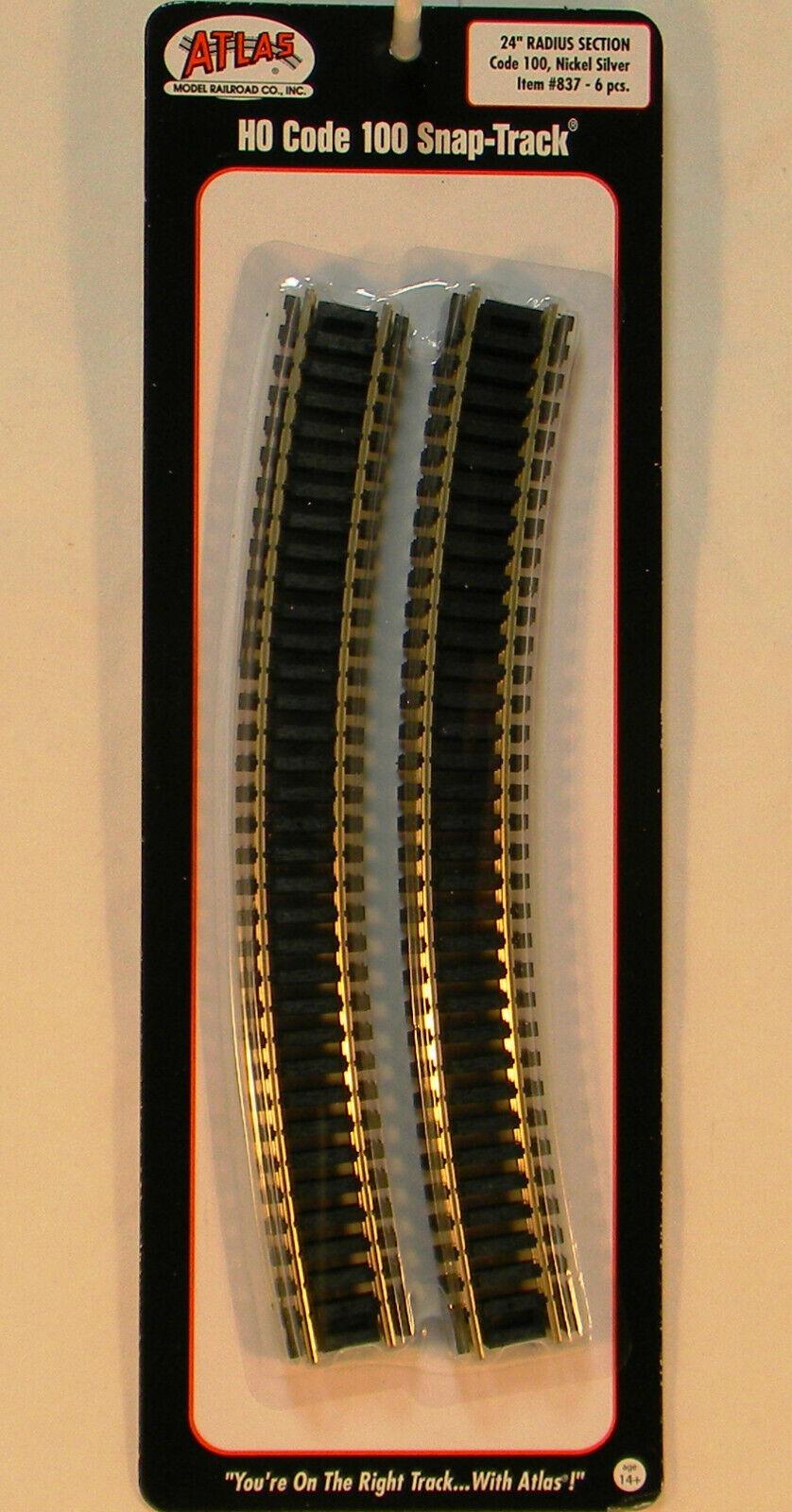 "ATLAS HO 18/"" RADIUS CURVE TRAIN TRACK CODE 100 black ties nickel silver rail 833"