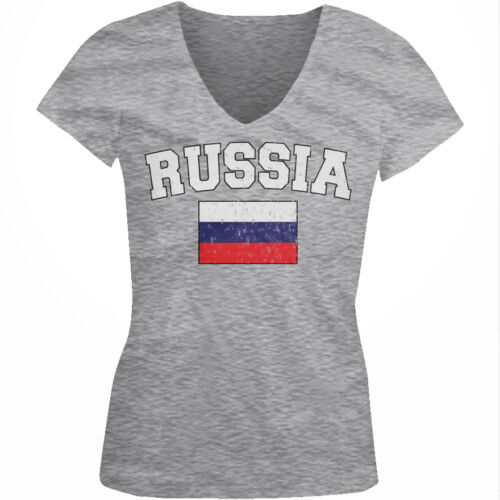 Russia Country Flag ????? Russian Pride Football Soccer  Juniors V-neck T-shirt