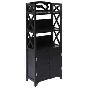 Bathroom-Floor-Storage-Cabinet-Black-Cupboard-Shelving-Unit-Towel-Rack-Toiletry