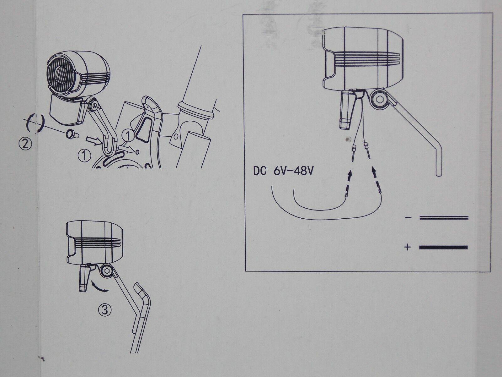 ⭐2020 FalkX LED E-Bike Beleuchtung Set 6V-48V HighP Scheinwerfer 40LM*Rücklicht⭐