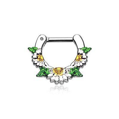 "Septum Clicker 14g 1/4"" 6mm Daisy Garden Icon Cartilage Piercing"