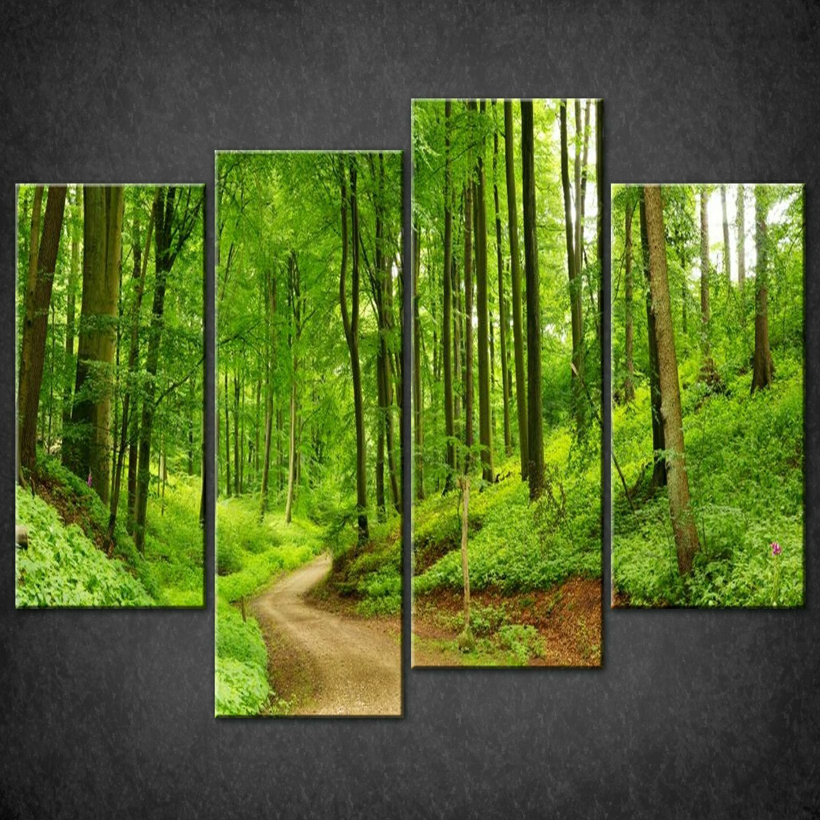 PATH IN Grün FOREST CANVAS PRINT PICTURE WALL ART FREE FAST DELIVERY