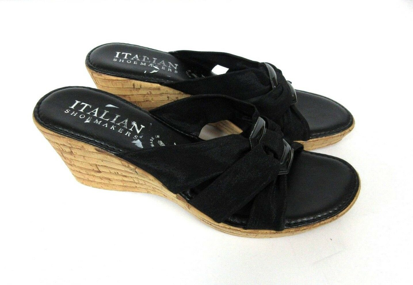 Italian shoesmakers Women Eden Casual  Wedge Sandal Black Size  8