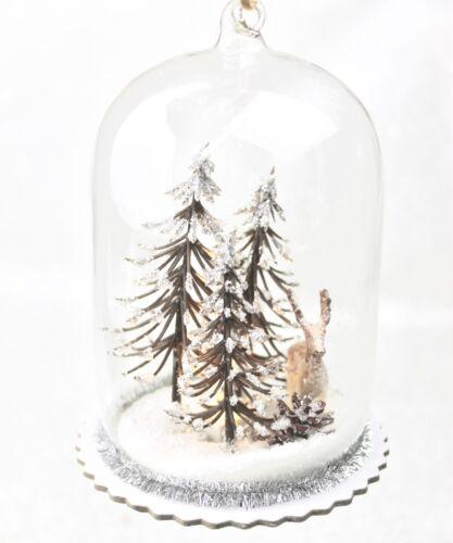 Gisela Graham Weihnachten Klar Glas LED Kuppel Mit Bäume Rentier Dekoration