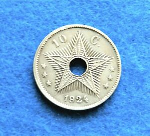 1924-Belgian-Congo-10-Centimes-Great-Old-Coin-See-PICS