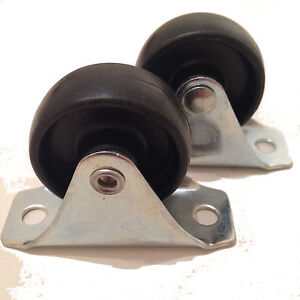 Details About Pack Of 2 Fixed Wheel Black Nylon Castors 40mm X 17mm 66 25 Plate