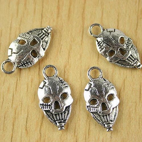 16pcs Tibetan silver skull face charms h2438