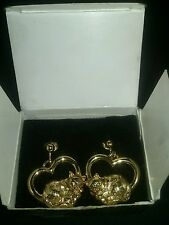 Vintage avon gold tone cuddly cat clip earrings