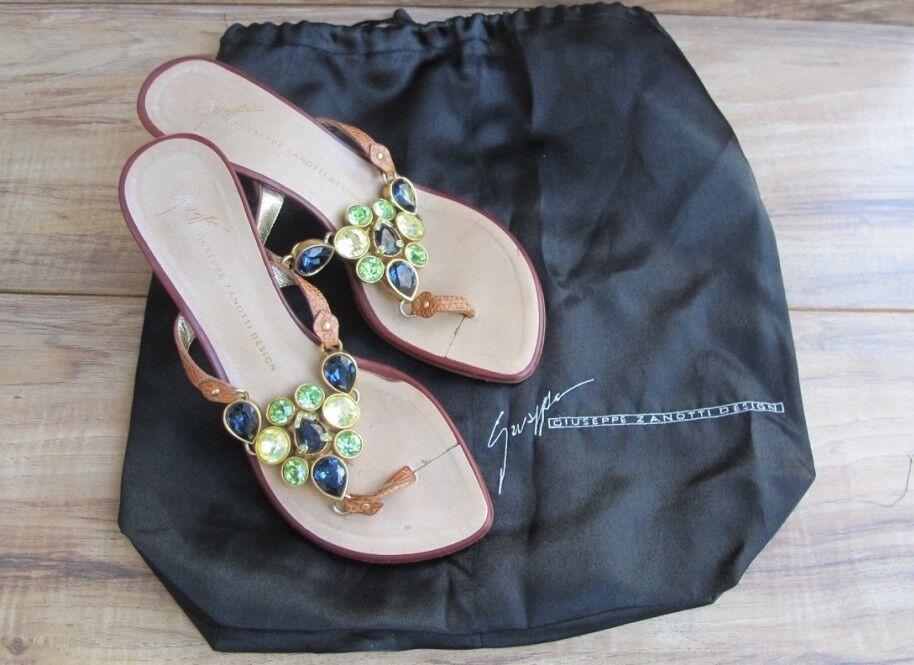 divertiti con uno sconto del 30-50% Giuseppe Zanotti Zanotti Zanotti VICINI donna Gemstone Leather Sandals scarpe US 5 EUR 35 - EUC  fino al 60% di sconto