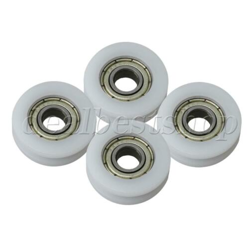 4 Pieces White Embedded U Shape Guide Pulley Rail Ball Roller Bearing