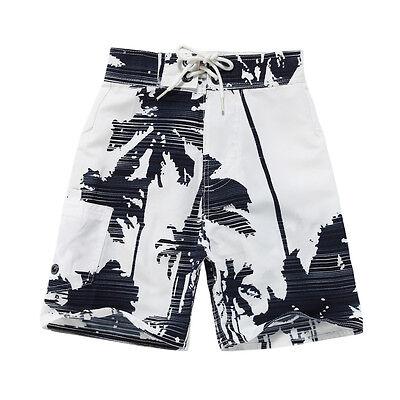 Boy Board Shorts Swimwear Adjustable Waist Pocket Swim Trunk White Palm Navy