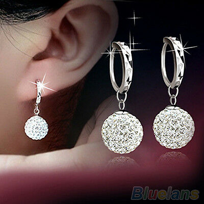 Beauty Womens Clear Crystal Rhinestone Round Ball Charming Hoop Earrings