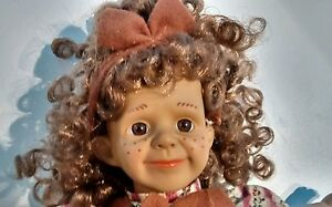 Doll-freckel-face-adorable-curly-hair-bow-tie-brown-skin-cute-vintage-80-039-s