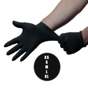20 Black Nitrile Powder Free Medical Exam Tattoos Piercing Gloves - 10 pairs