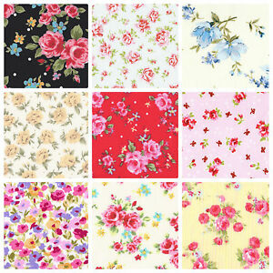 ROSES-FLORAL-FABRIC-100-COTTON-POPLIN-FAT-QUARTERS-METRES-SHABBY-CHIC