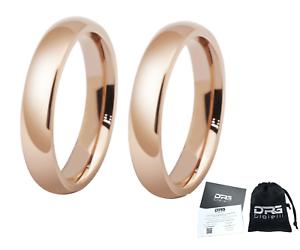 Coppia-Fedine-4mm-Acciaio-Color-Oro-Rosa-semplici-con-incisione-int-fidanzamento