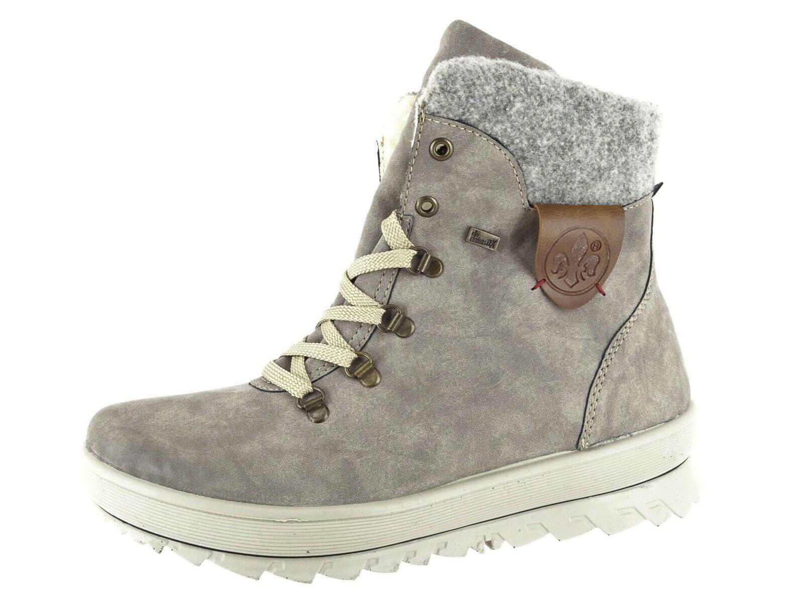Rieker Damen Boots Stiefeletten Schuhe Kunstleder Profilsohle warm gefüttert