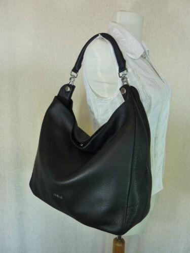Classic Onyx Leather Raffaella Hobo Black Pebbled Nwt Bag448 Furla nk08wOXP