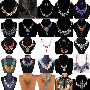 Fashion-Women-Rhinestone-Crystal-Pendant-Choker-Statement-Chain-Bib-Necklace