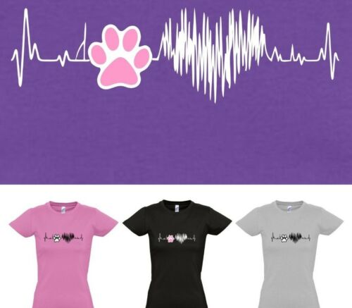 DOG PAW HEART BEAT DOG LOVERS Ladies Cut T-shirt sizes 8 to 16